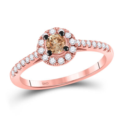 10kt Rose Gold Round Brown Diamond Solitaire Bridal Wedding Engagement Ring 1/2 Cttw