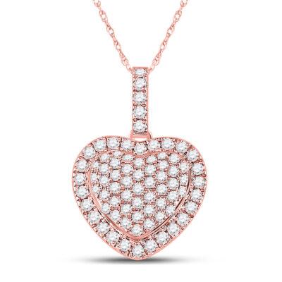 14kt Rose Gold Womens Round Diamond Heart Pendant 1/2 Cttw