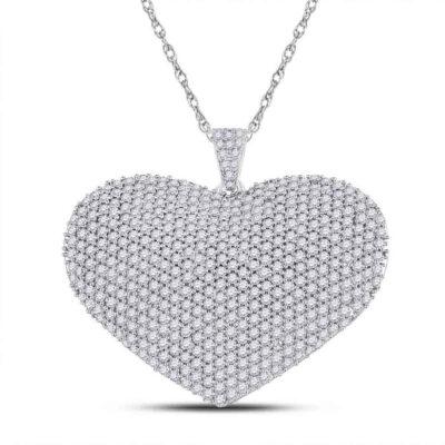 14kt White Gold Womens Round Diamond Charmed Heart Pendant 3 Cttw