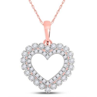 14kt Rose Gold Womens Round Diamond Heart Pendant 3/8 Cttw