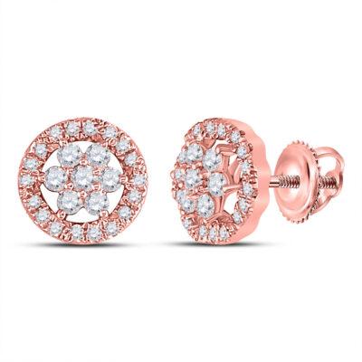 14kt Rose Gold Womens Round Diamond Flower Cluster Earrings 1/2 Cttw