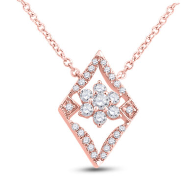 14kt Rose Gold Womens Round Diamond Geometric Cluster Necklace 1/3 Cttw