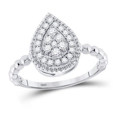 10kt White Gold Womens Round Diamond Teardrop Cluster Ring 1/3 Cttw