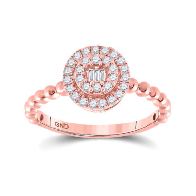 10kt Rose Gold Womens Baguette Diamond Circle Cluster Ring 1/4 Cttw