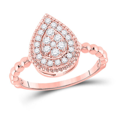 10kt Rose Gold Womens Round Diamond Teardrop Cluster Ring 1/3 Cttw