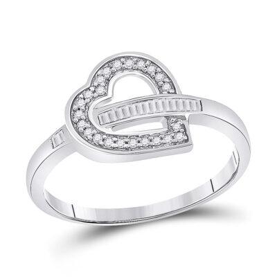10kt White Gold Womens Baguette Diamond Heart Ring 1/6 Cttw