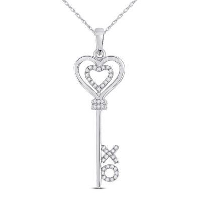 Sterling Silver Womens Round Diamond Heart XO Key Pendant 1/8 Cttw