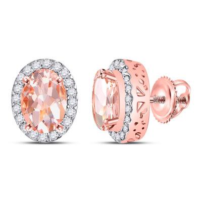 10kt Rose Gold Womens Oval Morganite Diamond Halo Earrings 2-1/5 Cttw