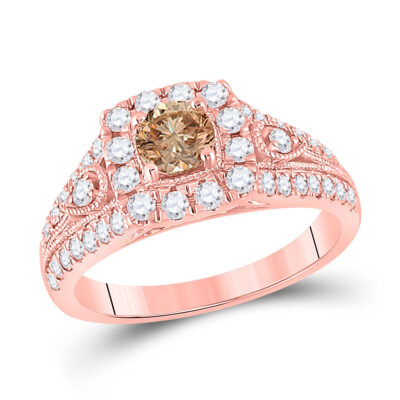 10kt Rose Gold Womens Round Morganite Solitaire Bridal Wedding Engagement Ring 1-1/5 Cttw