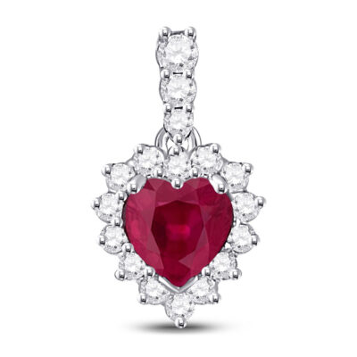 10kt White Gold Womens Heart Ruby Solitaire Pendant 3/8 Cttw