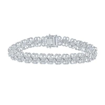 Sterling Silver Womens Round Diamond Heart Bracelet 1 Cttw