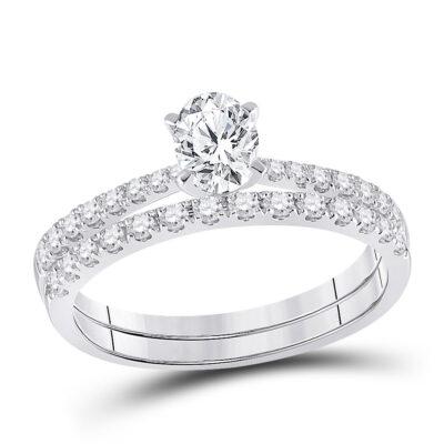 14kt White Gold Oval Diamond Bridal Wedding Ring Band Set 1 Cttw