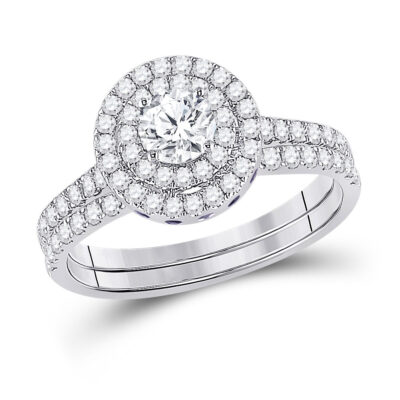 14kt White Gold Round Diamond Bridal Wedding Ring Band Set 1-1/3 Cttw