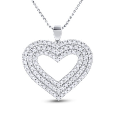 14kt Yellow Gold Womens Round Diamond Heart Pendant 1 Cttw