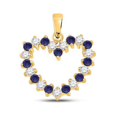 10kt Yellow Gold Womens Round Blue Sapphire Diamond Heart Pendant 1/2 Cttw