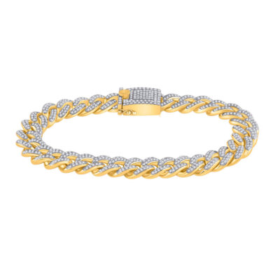 10kt Yellow Gold Mens Round Diamond Cuban Fashion Bracelet 6-5/8 Cttw