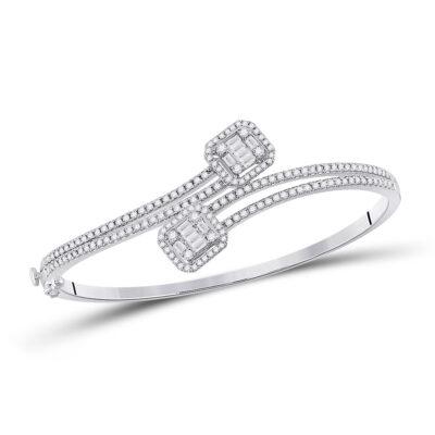 14kt White Gold Womens Baguette Diamond Bangle Bracelet 1-1/3 Cttw