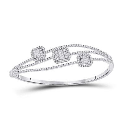14kt White Gold Womens Baguette Diamond Cluster 3-stone Bracelet 1-3/4 Cttw