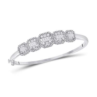 14kt White Gold Womens Baguette Diamond Bangle Bracelet 1-5/8 Cttw