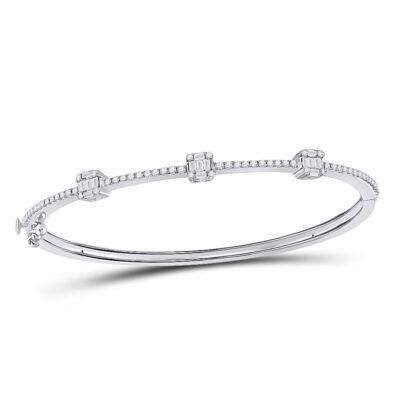 14kt White Gold Womens Baguette Diamond Bangle Bracelet 5/8 Cttw
