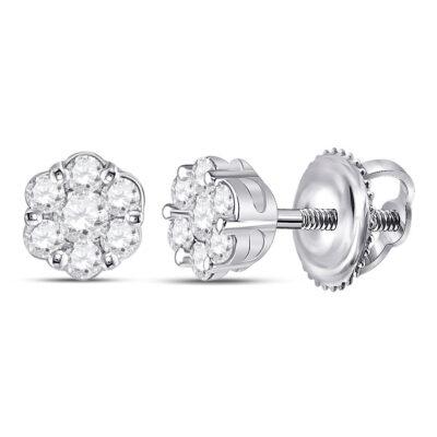 10kt White Gold Womens Round Diamond Flower Cluster Earrings 1/3 Cttw