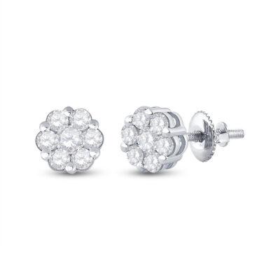 14kt White Gold Womens Round Diamond Flower Cluster Earrings 1-1/5 Cttw