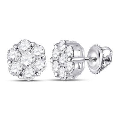 14kt White Gold Womens Round Diamond Flower Cluster Earrings 1-3/4 Cttw