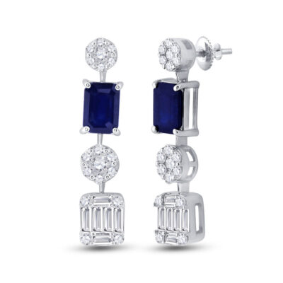 14kt White Gold Womens Emerald Blue Sapphire Diamond Dangle Earrings 2 Cttw