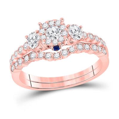 14kt Rose Gold Round Diamond Bridal Wedding Ring Band Set 7/8 Cttw