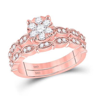 14kt Rose Gold Round Diamond Bridal Wedding Ring Band Set 1/2 Cttw