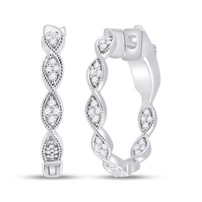 14kt White Gold Womens Round Diamond Fashion Hoop Earrings 1/5 Cttw