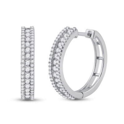 14kt White Gold Womens Round Diamond Hoop Earrings 7/8 Cttw
