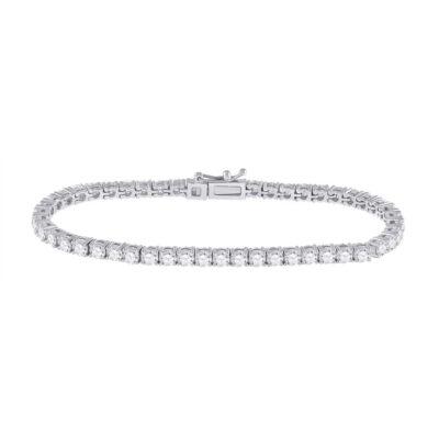 14kt White Gold Womens Round Diamond Tennis Bracelet 6 Cttw