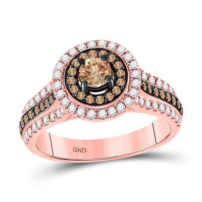 14kt Rose Gold Round Brown Diamond Halo Bridal Wedding Engagement Ring 1 Cttw