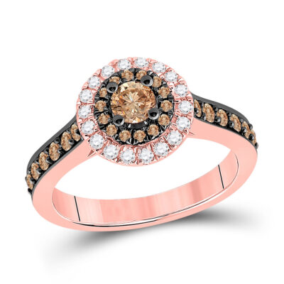 14kt Rose Gold Round Brown Diamond Solitaire Bridal Wedding Engagement Ring 7/8 Cttw