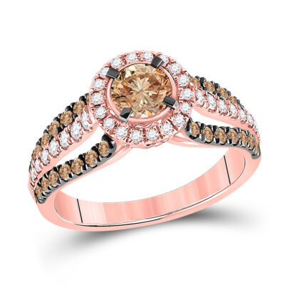 14kt Rose Gold Round Brown Diamond Solitaire Bridal Wedding Engagement Ring 1-1/3 Cttw