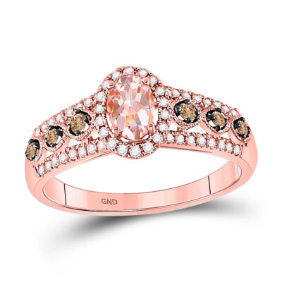 14kt Rose Gold Womens Oval Morganite Brown Diamond Solitaire Ring 1 Cttw
