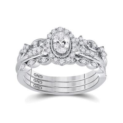 14kt White Gold Oval Diamond Bridal Wedding Ring Band Set 3/4 Cttw