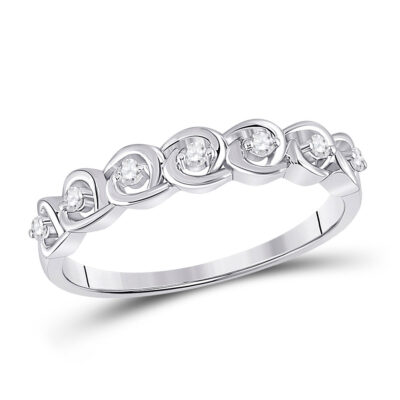 14kt White Gold Womens Round Diamond Anniversary Band Ring 1/10 Cttw