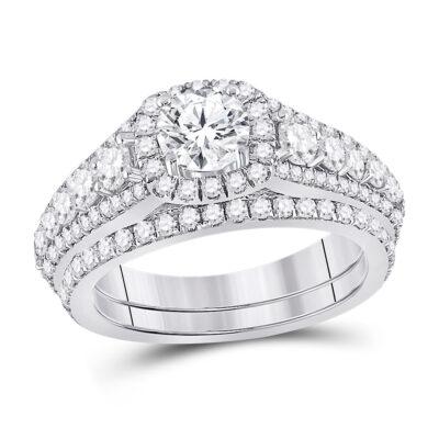 14kt White Gold Round Diamond Bridal Wedding Ring Band Set 2-1/3 Cttw