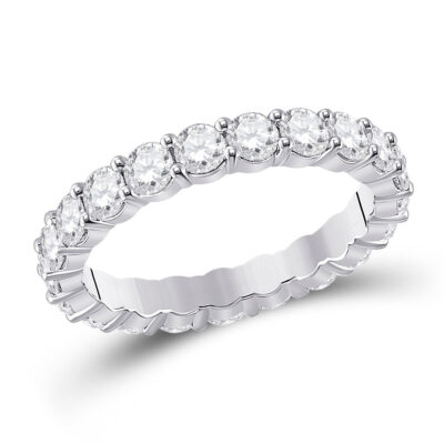 14kt White Gold Womens Round Diamond Classic Eternity Ring 2-1/3 Cttw