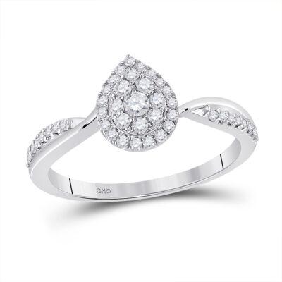 14kt White Gold Womens Round Diamond Teardrop Cluster Ring 1/3 Cttw