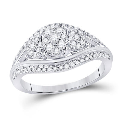 10kt White Gold Round Diamond Cluster 3-stone Bridal Wedding Engagement Ring 1/2 Cttw