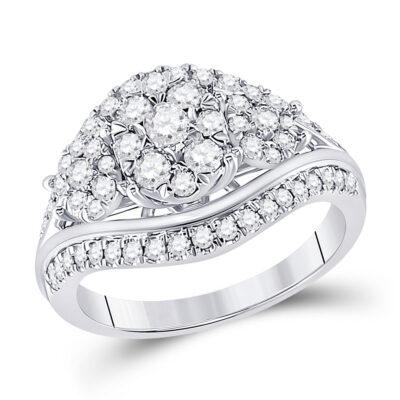10kt White Gold Round Diamond Cluster Bridal Wedding Engagement Ring 1 Cttw