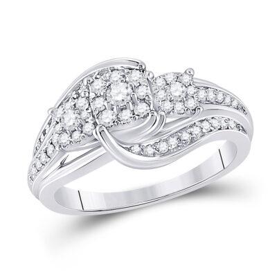 10kt White Gold Round Diamond Cluster Bridal Wedding Engagement Ring 1/2 Cttw