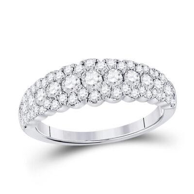 10kt White Gold Womens Round Diamond Triple Row Anniversary Ring 1 Cttw