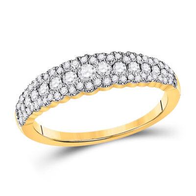 10kt Yellow Gold Womens Round Diamond Anniversary Ring 1/2 Cttw