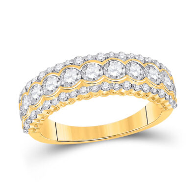 10kt Yellow Gold Womens Round Diamond Cocktail Anniversary Ring 1-1/2 Cttw