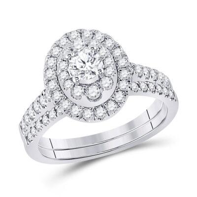 14kt White Gold Round Diamond Bridal Wedding Ring Band Set 1 Cttw