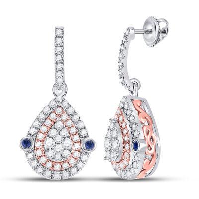 10kt Two-tone Gold Womens Round Diamond Teardrop Dangle Earrings 5/8 Cttw